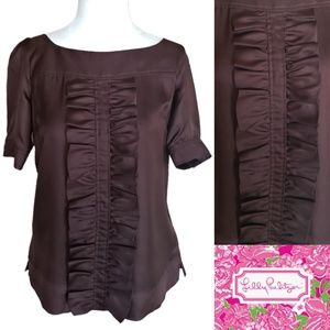 Lilly Pulitzer | 100% Silk Rich Brown Ruffle Top